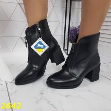Ботинки деми классика на низком широком каблуке со змейкой спереди