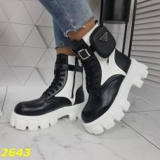 Ботинки деми на высокой тракторной платформе подошве черно белые с сумочкой
