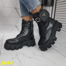 Ботинки деми черные на тракторной высокой платформе подошве с сумочкой