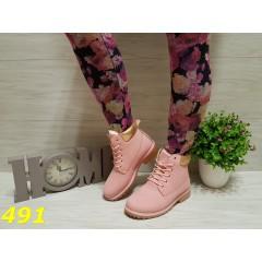 Ботинки тимбер розовые с золотом зима