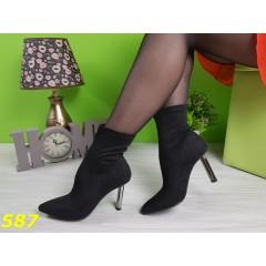Ботинки чулки с узким носком и металлическим каблуком