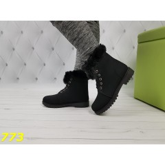 Ботинки тимбер с меховой опушкой черные