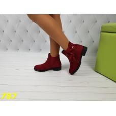 Ботинки зима на низком ходу с лентой цвет марсала бордо