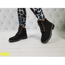 Ботинки зимние тимбер балманы черного цвета