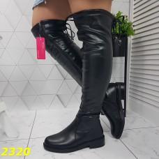Сапоги чулки ботфорты на низком каблуке зимние