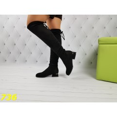 Сапоги ботфорты черные замшевые на низком каблуке