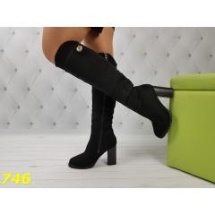 Зимние сапоги ботфорты на устойчивом удобном каблуке