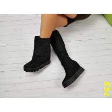 Сапоги ботинки с подворотом на высокой платформе