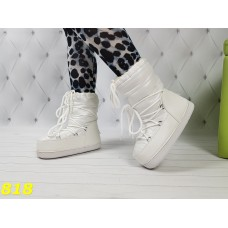 Зимние мунбутсы луноходы Moon boots белые высокие Калифорния