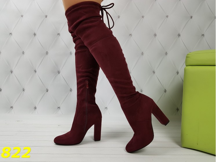Сапоги чулки ботфорты цвета марсала на устойчивом каблуке классика демисезон