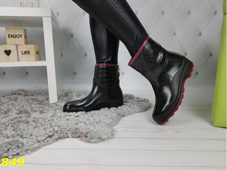 Полусапожки ботинки резиновые утепленные непромокаемые черные