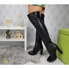 Сапоги ботфорты чулки на удобном каблуке черные