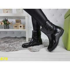Ботинки полусапоги резиновые утепленные непромокаемые черные с серым