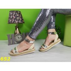 Босоножки сандалии на платформе соломенной низкий ход бежевые с серебром