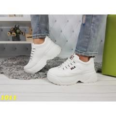 Кроссовки фила белые на высокой платформе