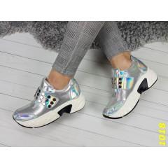 Кроссовки на платформе с липучкой серебро