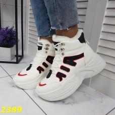 Зимние кроссовки ботинки спортивные на высокой массивной подошве белые с красным