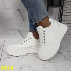 Кроссовки криперы на высокой платформе белые