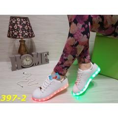 Кроссовки LED светящаяся подошва белые с серебряной пяткой