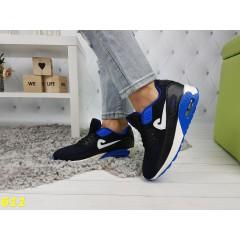 Кроссовки аирмаксы черные с синими вставками