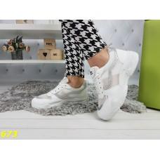 Кроссовки Баленсиага белые на толстой подошве с дышащей сеткой серебряная полоса