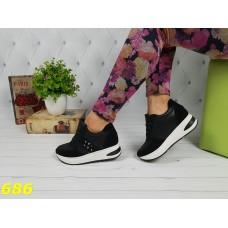 Кроссовки черные на высокой платформе