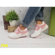 Кроссовки белые с розовыми вставками