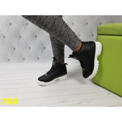Высокие кроссовки фила черные на белой подошве зима