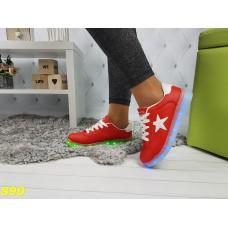 Кеды кроссовки красные со звездой светящаяся подошва Led подсветка
