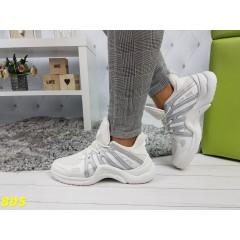 Кроссовки белые с серебром на массивной подошве в стиле LV