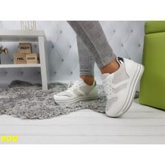 Кроссовки белые с серебром на высокой платформе