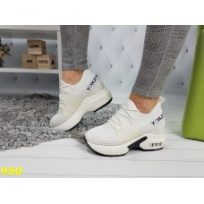 Сникерсы кроссовки белые на высокой платформе с танкеткой дышащие Mamoto