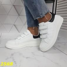 Кроссовки криперы на высокой платформе на липучках белые