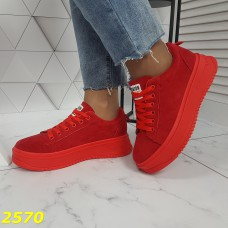 Криперы кроссовки на высокой платформе красные замшевые