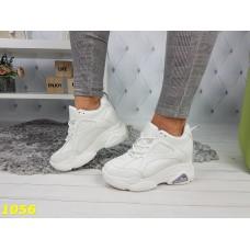 Сникерсы кроссовки на высокой платформе с танкеткой белые филы