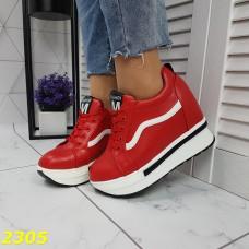 Кроссовки сникерсы на высокой платформе с танкеткой красные