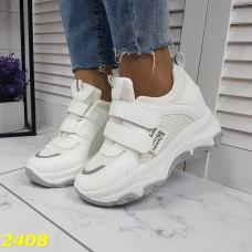 Сникерсы кроссовки на танкетке см платформой белые