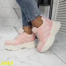 Сникерсы кроссовки на танкетке с платформой пудра розовые