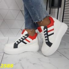 Сникерсы кроссовки на высокой платформе с танкеткой белые с красным