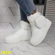 Сникерсы кроссовки на платформе форсы высокие белые с портупеей сумочкой