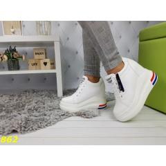 Сникерсы кроссовки на высокой платформе с танкеткой белые с замочком
