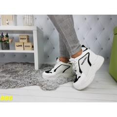Кроссовки сникерсы на платформе с танкеткой бело-черные