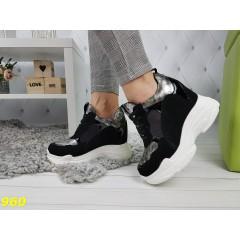 Сникерсы кроссовки на высокой платформе с танкеткой черные с серебром