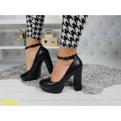Туфли с застежкой на толстом каблуке экокожа