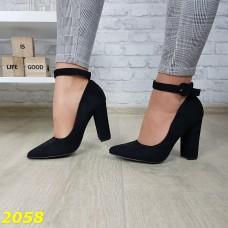 Туфли лодочки замшевые с ремешком застежкой на широком каблуке черные