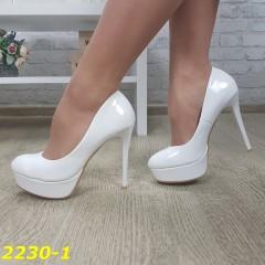 Туфли белые на шпильке с платформой