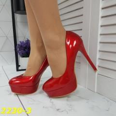 Туфли на шпильке с платформой классика красные