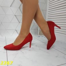 Туфли лодочки замшевые на низком каблуке красные