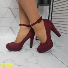 Туфли замшевые с ремешком застежкой марсала