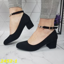Туфли лодочки замшевые на широком низком толстом каблуке с ремешком застежкой